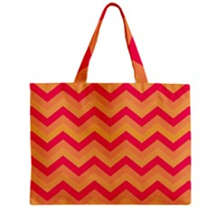 Chevron Peach Zipper Tiny Tote Bags