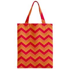 Chevron Peach Zipper Classic Tote Bags