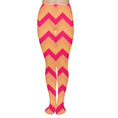 Chevron Peach Women s Tights