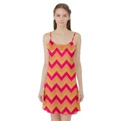 Chevron Peach Satin Night Slip