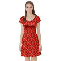 Cute Seamless Tile Pattern Gifts Short Sleeve Skater Dresses