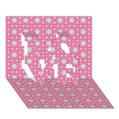 Cute Seamless Tile Pattern Gifts Love 3d Greeting Card (7x5)
