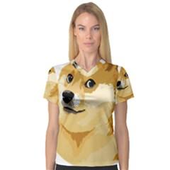 Dogecoin Women s V Neck Sport Mesh Tee