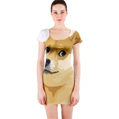 Dogecoin Short Sleeve Bodycon Dresses