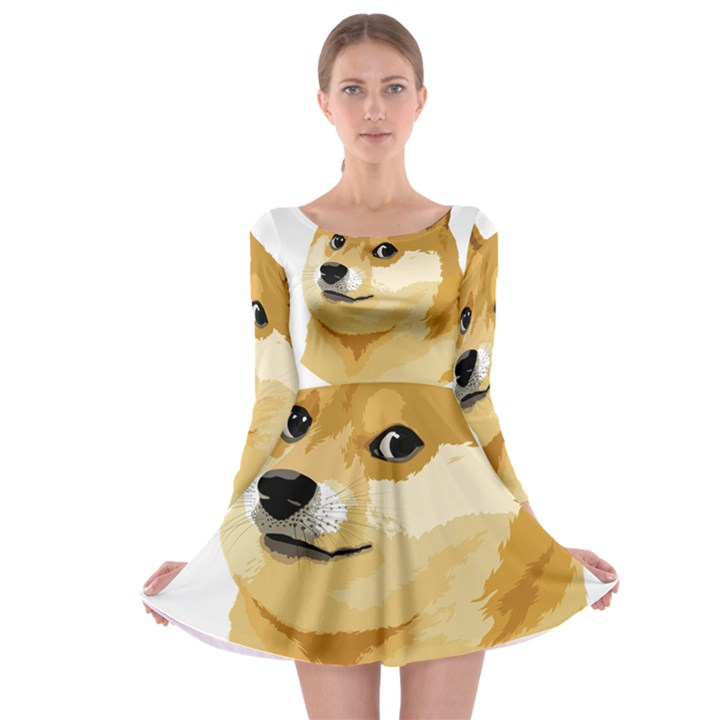Dogecoin Long Sleeve Skater Dress
