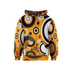 Florescent Orange Abstract Kids Zipper Hoodie
