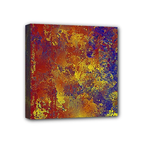 Abstract in Gold, Blue, and Red Mini Canvas 4  x 4