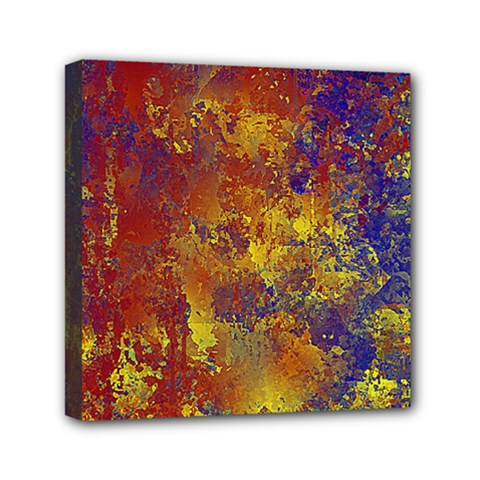 Abstract In Gold, Blue, And Red Mini Canvas 6  X 6