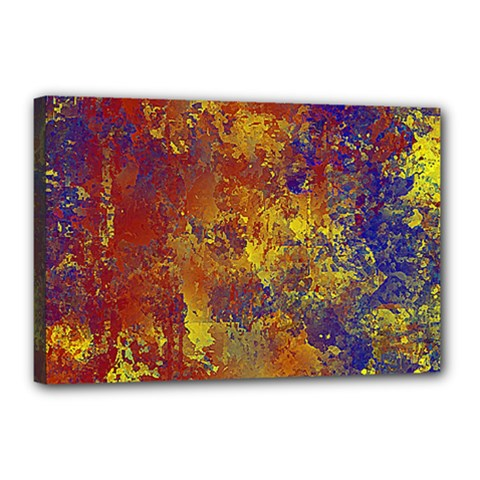 Abstract in Gold, Blue, and Red Canvas 18  x 12