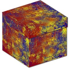 Abstract In Gold, Blue, And Red Storage Stool 12