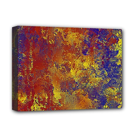 Abstract in Gold, Blue, and Red Deluxe Canvas 16  x 12