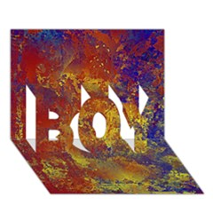 Abstract In Gold, Blue, And Red Boy 3d Greeting Card (7x5)