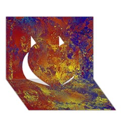 Abstract in Gold, Blue, and Red Heart 3D Greeting Card (7x5)