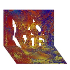 Abstract in Gold, Blue, and Red LOVE 3D Greeting Card (7x5)