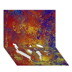 Abstract In Gold, Blue, And Red Love Bottom 3d Greeting Card (7x5)