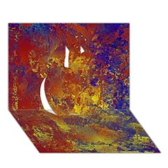 Abstract in Gold, Blue, and Red Apple 3D Greeting Card (7x5)