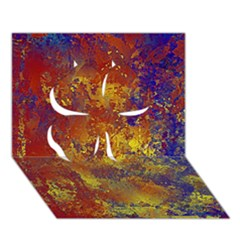 Abstract In Gold, Blue, And Red Clover 3d Greeting Card (7x5)