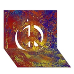 Abstract In Gold, Blue, And Red Peace Sign 3d Greeting Card (7x5)