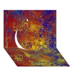 Abstract In Gold, Blue, And Red Circle 3d Greeting Card (7x5)