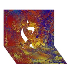Abstract In Gold, Blue, And Red Ribbon 3d Greeting Card (7x5)