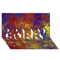 Abstract in Gold, Blue, and Red SORRY 3D Greeting Card (8x4)