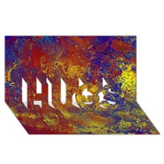 Abstract in Gold, Blue, and Red HUGS 3D Greeting Card (8x4)