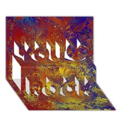 Abstract In Gold, Blue, And Red You Rock 3d Greeting Card (7x5)