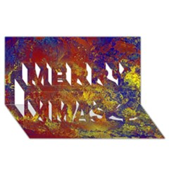 Abstract in Gold, Blue, and Red Merry Xmas 3D Greeting Card (8x4)