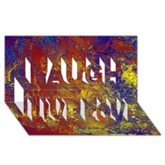 Abstract in Gold, Blue, and Red Laugh Live Love 3D Greeting Card (8x4)