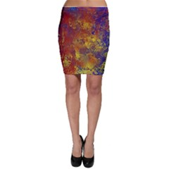 Abstract in Gold, Blue, and Red Bodycon Skirts