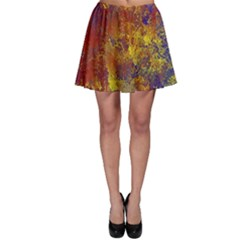 Abstract in Gold, Blue, and Red Skater Skirts