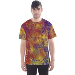 Abstract in Gold, Blue, and Red Men s Sport Mesh Tees