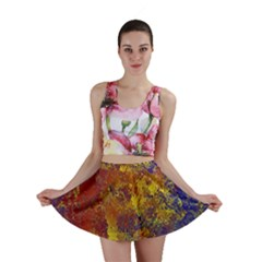 Abstract in Gold, Blue, and Red Mini Skirts
