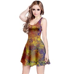 Abstract in Gold, Blue, and Red Reversible Sleeveless Dresses