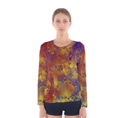 Abstract in Gold, Blue, and Red Women s Long Sleeve T-shirts