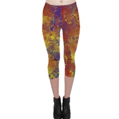 Abstract in Gold, Blue, and Red Capri Leggings