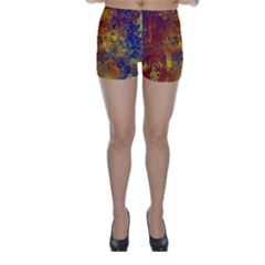 Abstract in Gold, Blue, and Red Skinny Shorts