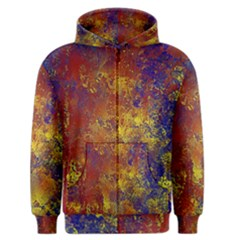 Abstract in Gold, Blue, and Red Men s Zipper Hoodies