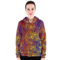Abstract In Gold, Blue, And Red Women s Zipper Hoodies