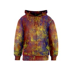 Abstract in Gold, Blue, and Red Kids Zipper Hoodies