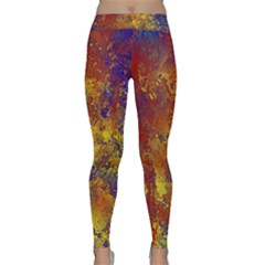 Abstract In Gold, Blue, And Red Yoga Leggings