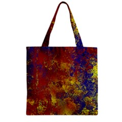 Abstract In Gold, Blue, And Red Zipper Grocery Tote Bags