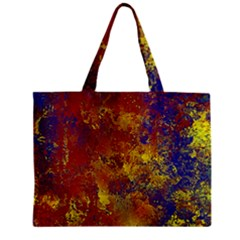 Abstract In Gold, Blue, And Red Zipper Tiny Tote Bags