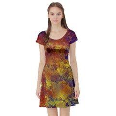 Abstract in Gold, Blue, and Red Short Sleeve Skater Dresses