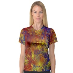 Abstract In Gold, Blue, And Red Women s V Neck Sport Mesh Tee