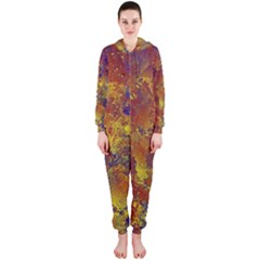 Abstract in Gold, Blue, and Red Hooded Jumpsuit (Ladies)