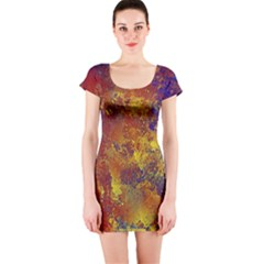 Abstract in Gold, Blue, and Red Short Sleeve Bodycon Dresses