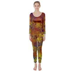 Abstract in Gold, Blue, and Red Long Sleeve Catsuit