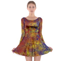 Abstract In Gold, Blue, And Red Long Sleeve Skater Dress