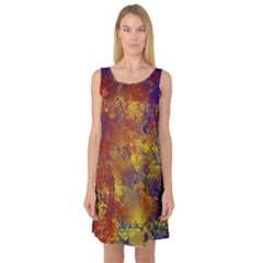 Abstract in Gold, Blue, and Red Sleeveless Satin Nightdresses